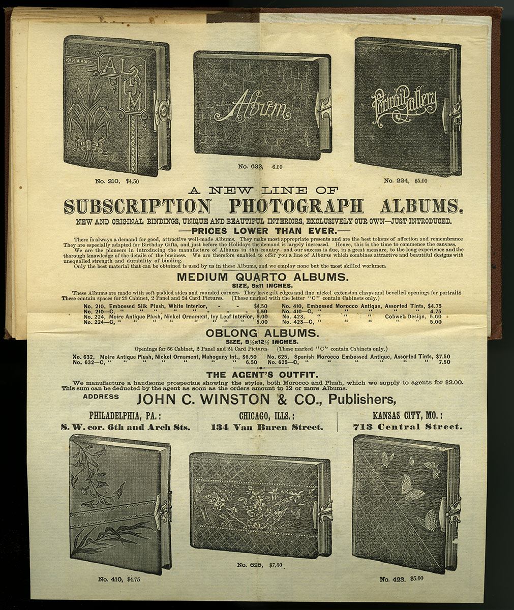 """John C. Winston & Co. """"A New Line of Subscription Photograph Albums"""" (Philadelphia, ca. 1904). Reproduction of broadside attached and folded into Photographic Bible Prospectus,."""