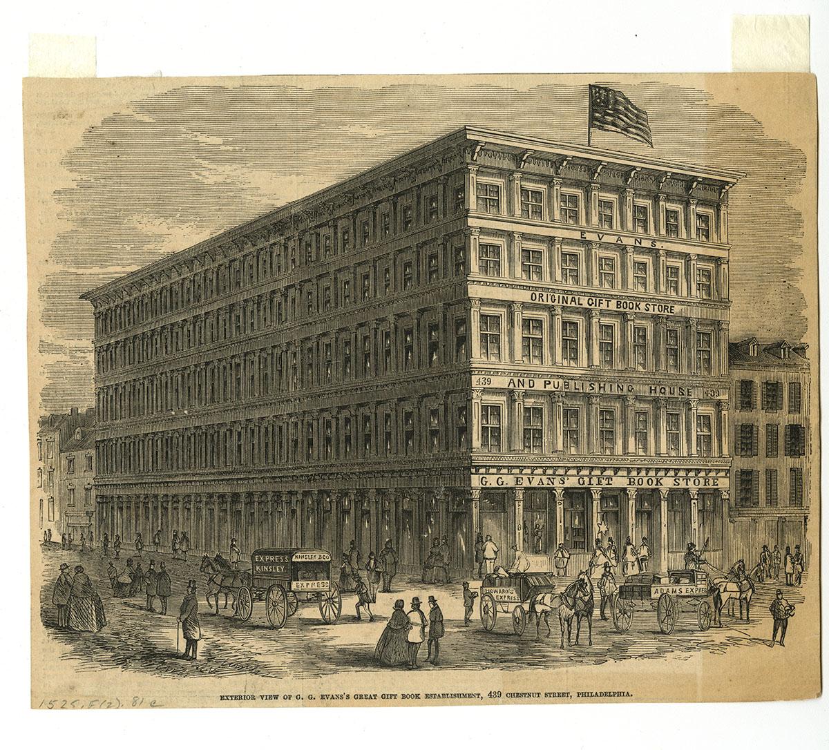 Exterior View of G.G. Evans's Great Gift Book Establishment, 439 Chestnut Street (Philadelphia. ca. 1860).