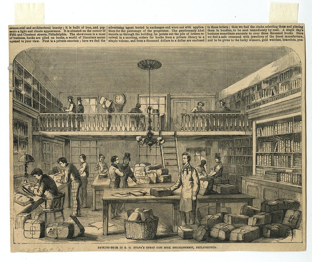 Packing-Room in G.G. Evans's Great Gift Book Establishment, Philadelphia (Philadelphia, ca. 1860).