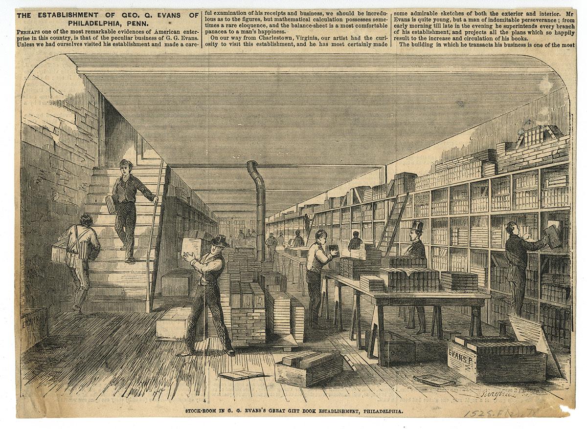 Stock-Room in G.G. Evans's Great Gift Book Establishment, Philadelphia (Philadelphia, ca. 1860).