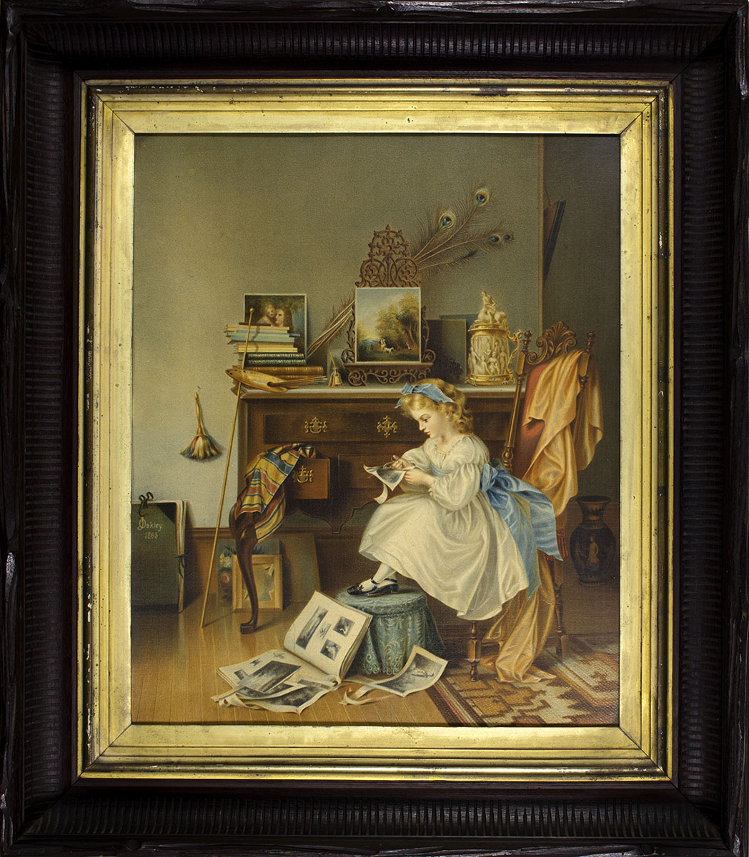 The Little Scrapbook Maker. Chromo-lithograph after an 1865 painting by Juliana Oakley (Chicago,1868). Gift of Ivan Jurin.