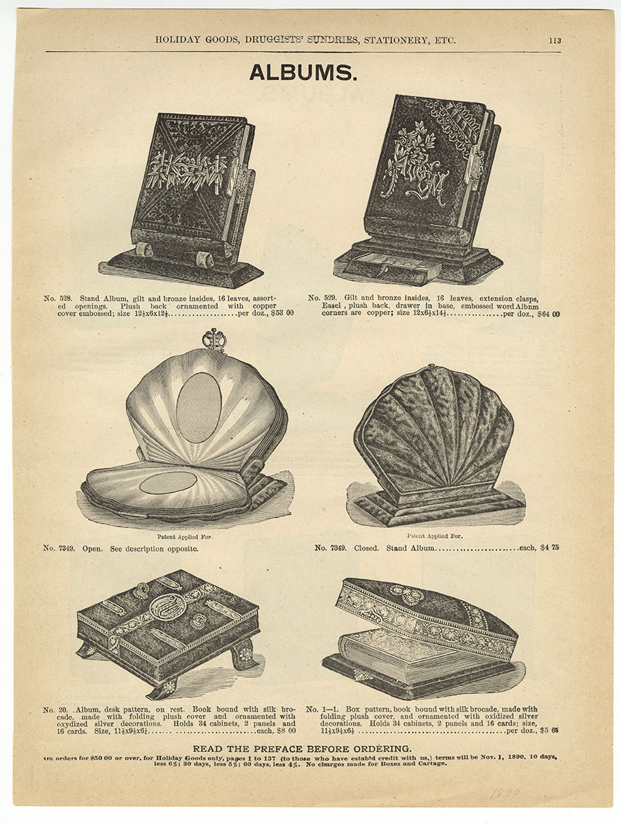 Marshall Field & Co.'s Illustrated Catalog of Holiday Goods, Druggists' Sundries, Stationery, Etc. (Chicago, ca. 1890). Michael Zinman Binding Fund.