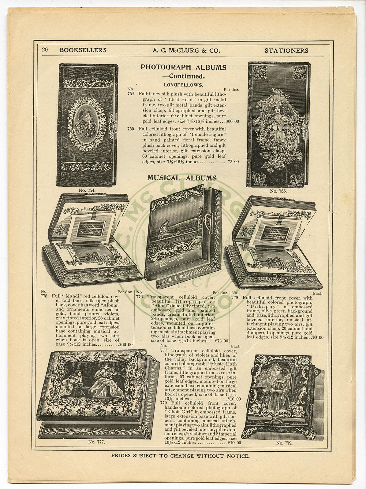 A.C. McClurg & Co. Photograph Albums (Chicago, ca. 1901). Michael Zinman Binding Fund.