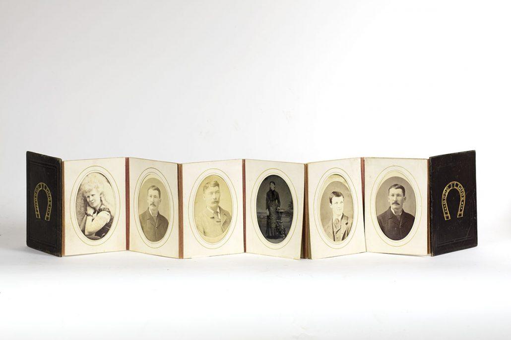 """Good Luck"" photograph album, late 19th century. Michael Zinman Binding Fund."