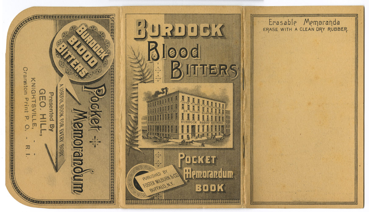 Burdock Blood Bitters Pocket Memorandum Book (Buffalo, N.Y., 1890). Gift of William H. Helfand.