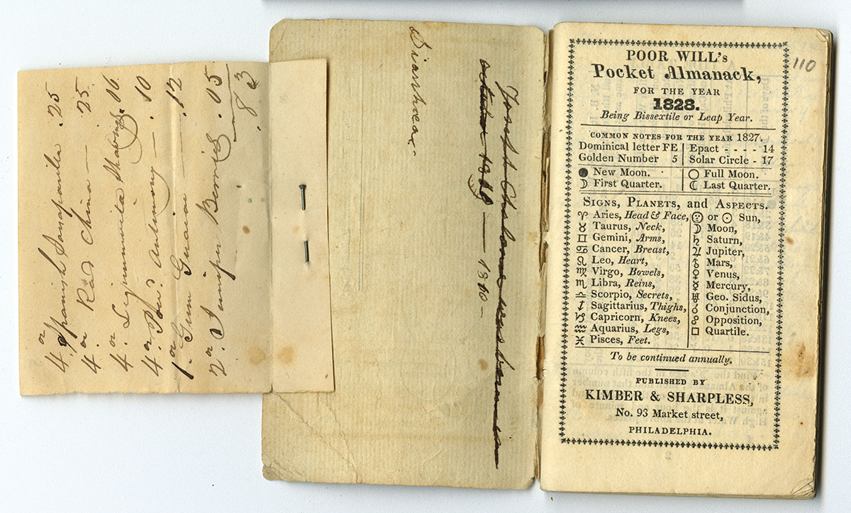 Poor Will's Pocket Almanack, for the Year 1828 (Philadelphia, 1827). Gift of Sally Smith.
