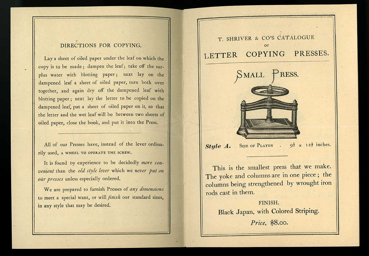 T. Shriver & Co's Patent Improved Letter Copying Presses (New York, 1868). David Doret Business Ephemera Collection.