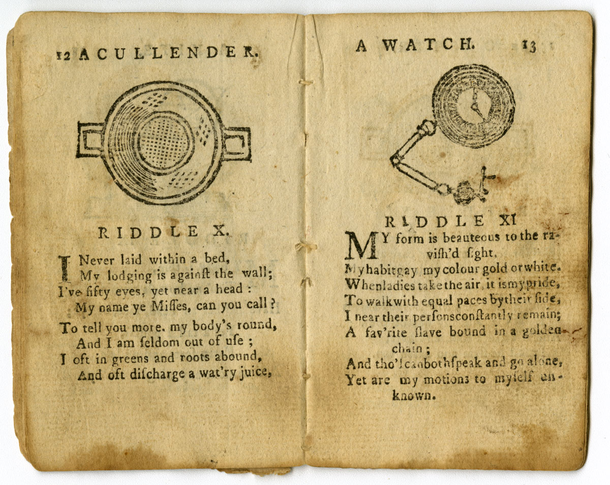 The Puzzling Cap: A Choice Collection of Riddles (Boston, ca.1794). Michael Zinman Collection of Early American Children's Books.