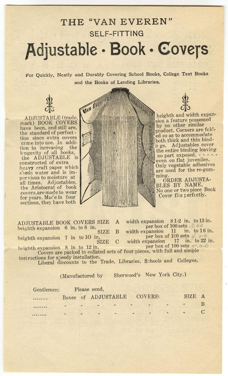 """The """"Van Everen"""" self-fitting adjustable book covers (New York, ca 1918). Gift of Michael Zinman."""