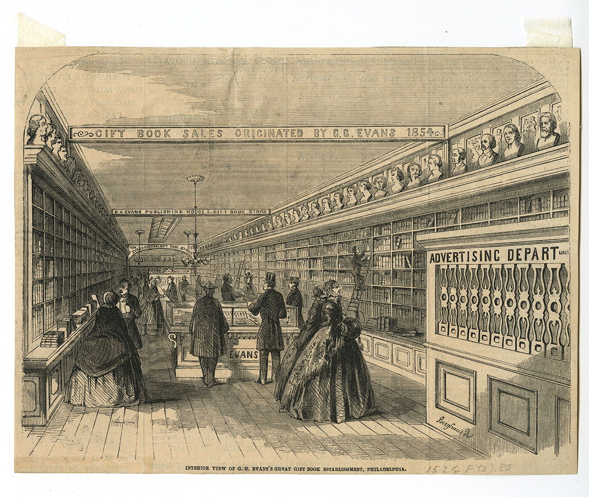 Interior view of G.G. Evans's Great Gift Book Establishment, Philadelphia (Philadelphia, ca. 1860).