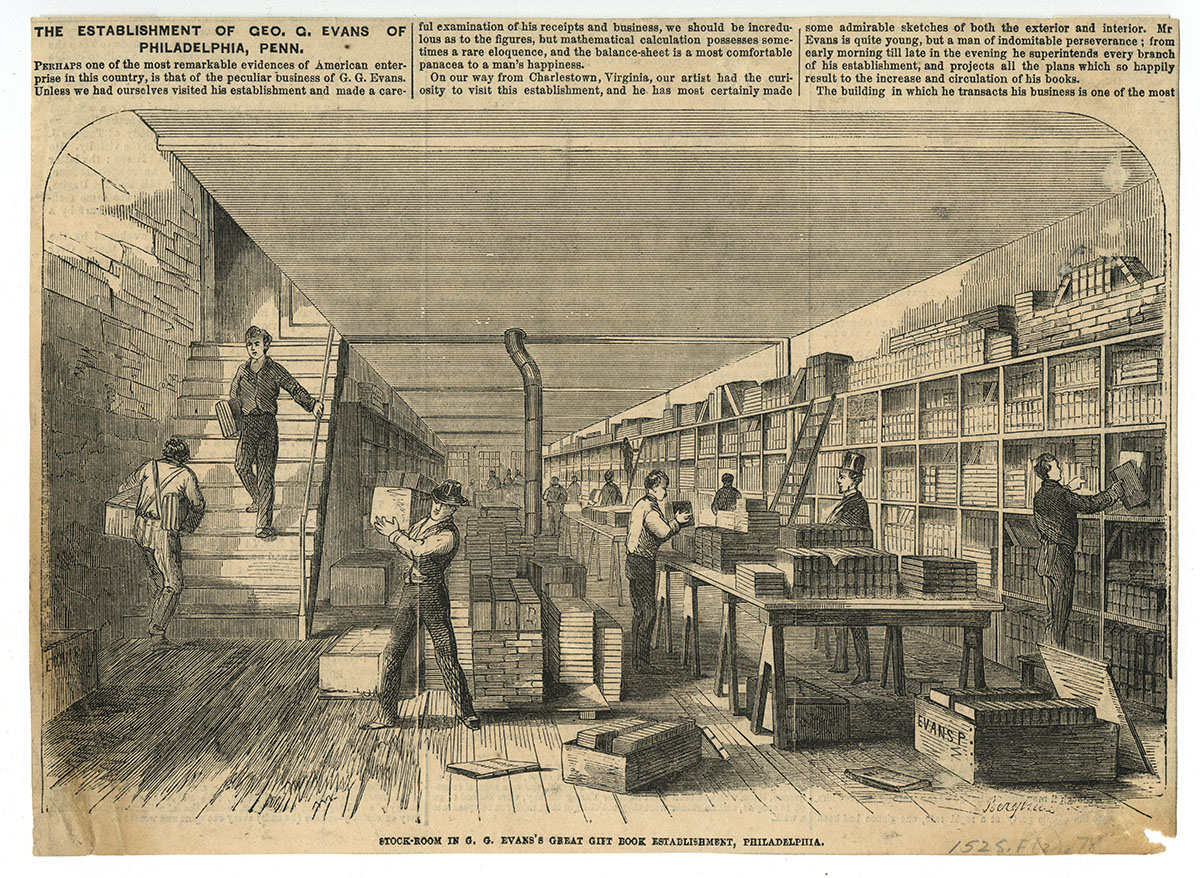 Stock-Room in G.G. Evans's Great Gift Book Establishment, Philadelphia (Philadelphia, ca. 1860).