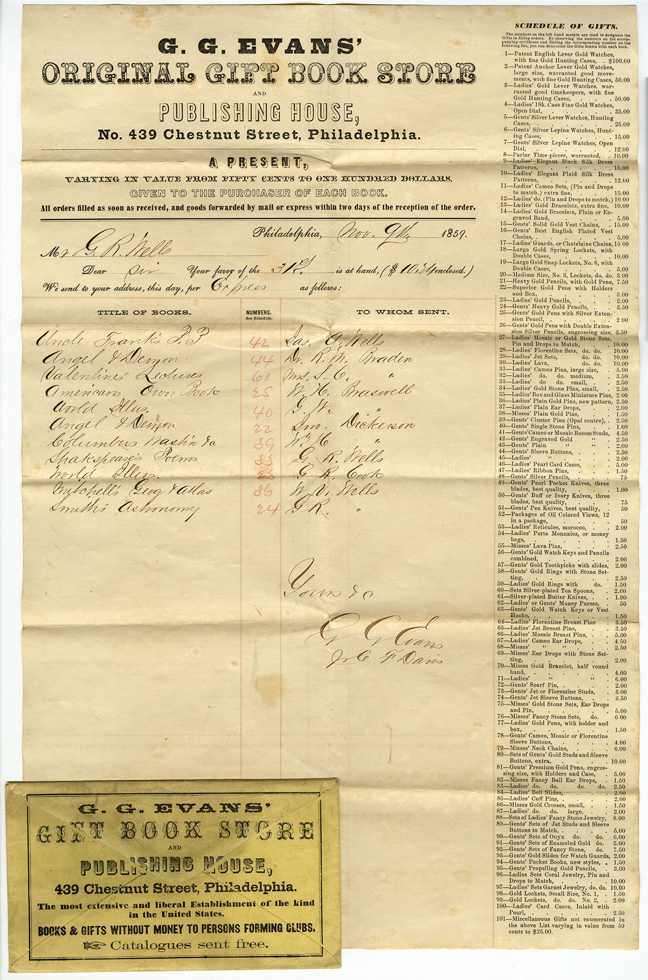 G.G. Evans' Original Gift Book Store order form (Philadelphia, 1859). Gift of Wendy Woloson.