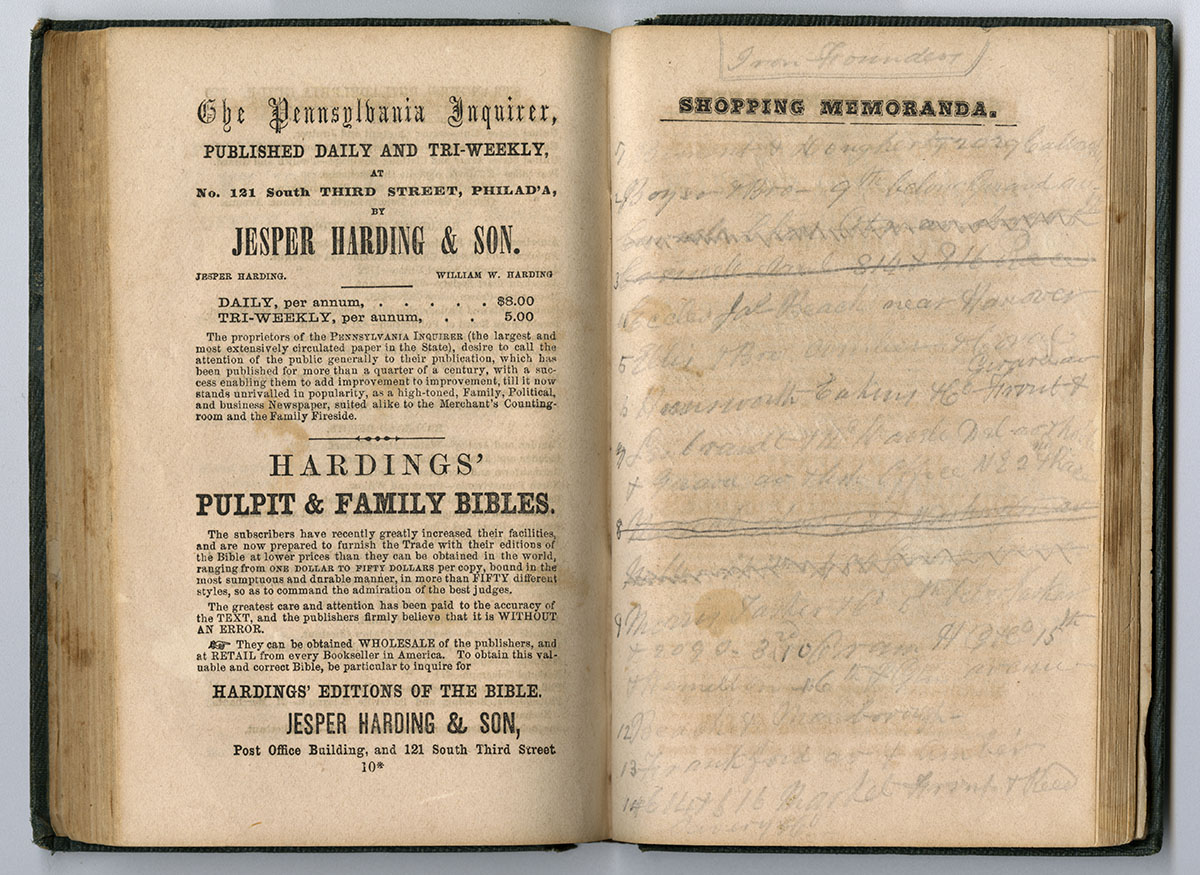 The Philadelphia Shopping Guide & Housekeeper's Companion, for 1859 (Philadelphia, 1858). McAllister collection.