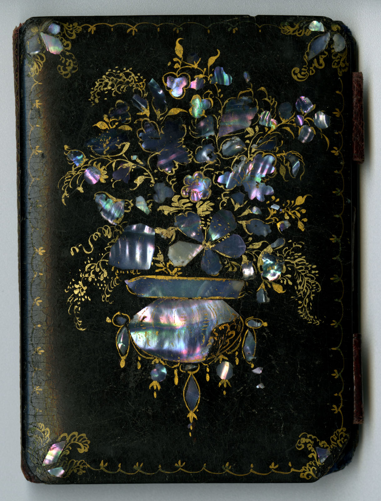 Writing tablet in papier-mâché binding, inlayed with mother-of-pearl, ca. 1850. Gift of Todd and Sharon Pattison.