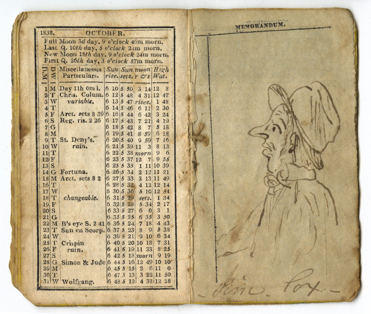 Johnson's Pocket Almanac, for the Year of Our Lord 1838 (Philadelphia, 1837). Gift of Helen Beitler.