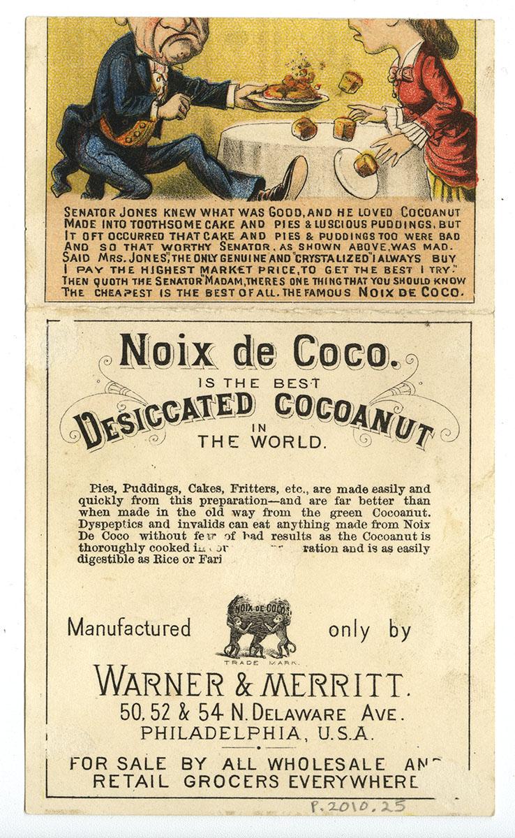 Noix de Coco Manufactured by Warner & Merritt, (Philadelphia, ca. 1884).