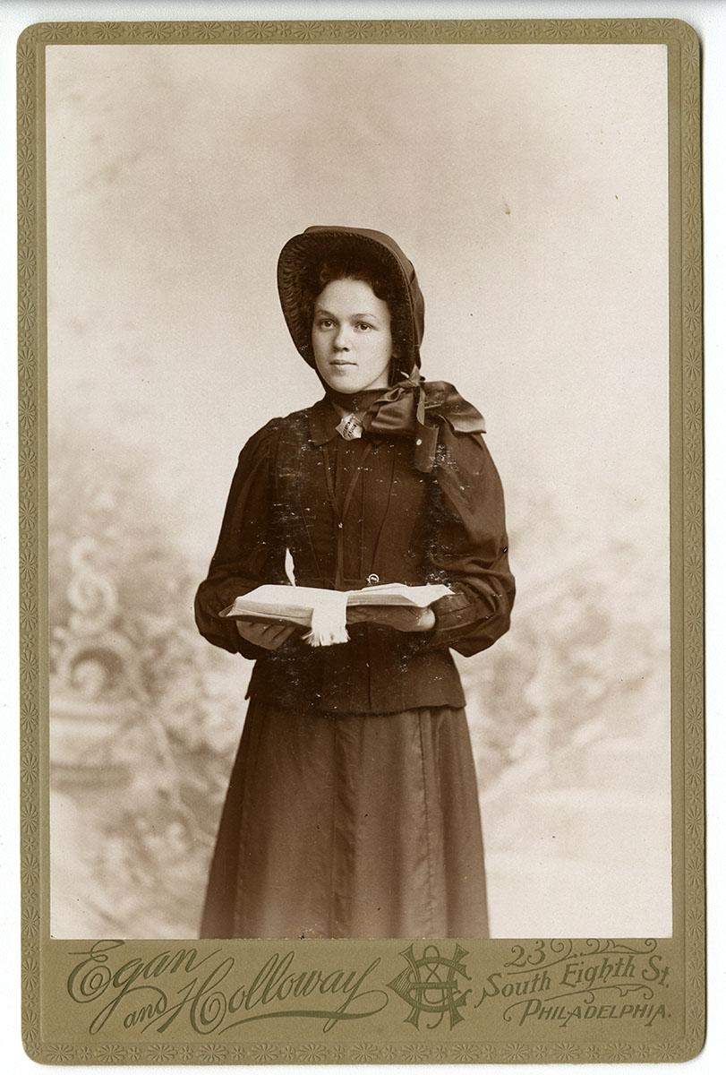 Miss Clara Wrigley in her Salvation Army uniform (Philadelphia, 1898). Albumen photograph.