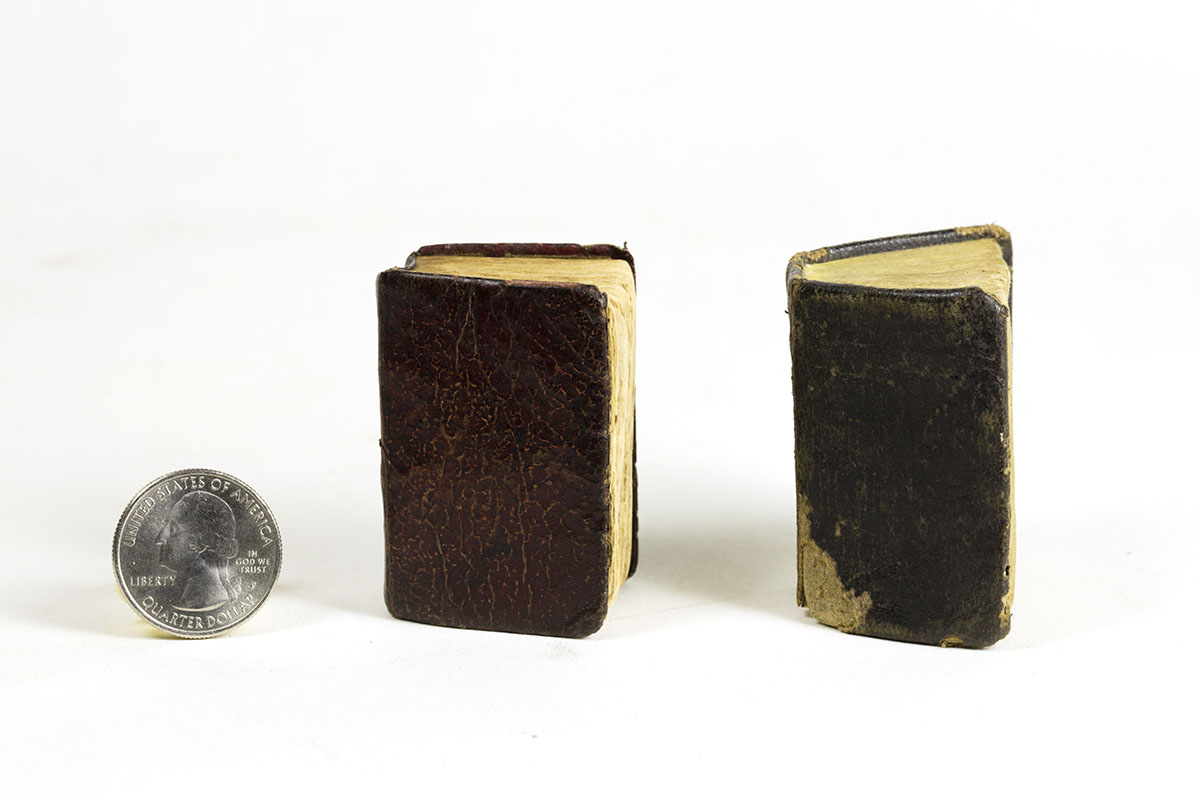 "History of the Bible (Lansingburgh, NY, 1824). Bible History (New York, 1816). All: Michael Zinman Collection of Early American Children's Books. Known as ""Thumb Bibles,"" these tiny books are abridged versions of the Bible, generally meant for children. The term ""Thumb Bible"" was first coined in the mid-19th century and may be a reference to Tom Thumb, a known public figure at the time. These books are also well-thumbed, though that is just coincidental."