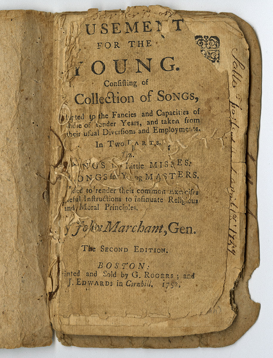John Marchant, Amusements for the Young (Boston, 1752). The Michael Zinman Collection of Early American Imprints. The torn page was repaired with a needle and thread.