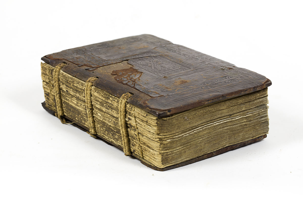 Gregor Reisch, Margarita Philosophica (Basel, 1508). Gift of Michael Zinman. The bare spine allows a rare peek at hidden structures. For this reason we sometimes decide to leave the book in as-is condition, but protected inside a custom-made box like the one shown to the left.