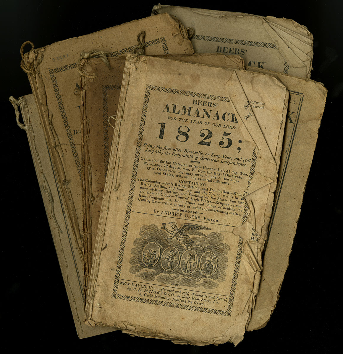Assortment of Almanacks, 1808-1825. Hutchin's Improved, 1808; Beers' 1824; Beers' 1824; Beers' 1825, Beers' 1825, Beers' 1824. Anonymous gift.